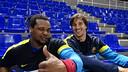 Cédric Sorhaindo y Viran Morros, dos de los 11 azulgranas en Dinamarca. / FOTO: ARCHIVO-FCB