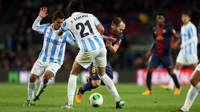 Iniesta vs Málaga in the Copa. PHOTO: MIGUEL RUIZ-FCB.
