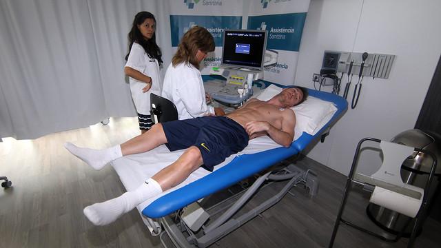 Messi, durant les analítiques d'aquest dilluns al matí. FOTO: MIGUEL RUIZ-FCB.