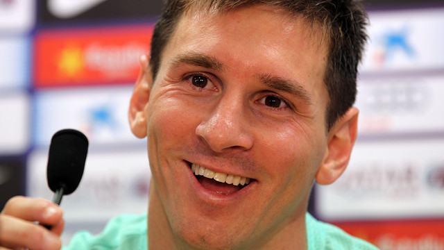 Leo Messi in a press conference