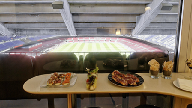 picture from vip box second tier behind the goals with catering service inside the box