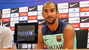 Martín Montoya in his press conference on Thursday. PHOTO: MIGUEL RUIZ-FCB