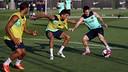 Messi et Bartra à l'entrainement / Photo Miguel Ruiz