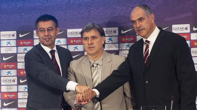 Bartomeu, Martino i Zubizarreta, aquest divendres / FOTO: VÍCTOR SALGADO - FCB
