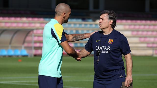 Valdés, amb Martino, aquest matí. FOTO: MIGUEL RUIZ-FCB.