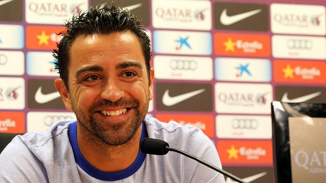 Xavi, during the press conference. PHOTO: MIGUEL RUIZ-FCB.
