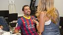 Xavi receiving make-up / PHOTO: VÍCTOR SALGADO-FCB