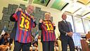 Sandro Rosell avec Shimon Peres et Benjamin Netanyahu / PHOTO: MIGUEL RUIZ - FCB