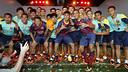Adriano, Neymar Jr i Adriano, durant l'acte / FOTO: MIGUEL RUIZ-FCB