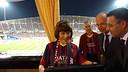 The Thai princess with Josep Maria Bartomeu and Jordi Cardoner. PHOTO: FCB.
