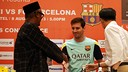 Fabregas and Messi press conference