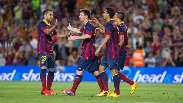 Messi, Jordi Alba, Pedro i Alexis, en el Trofeu Joan Gamper / FOTO: GERMÁN PARGA - FCB