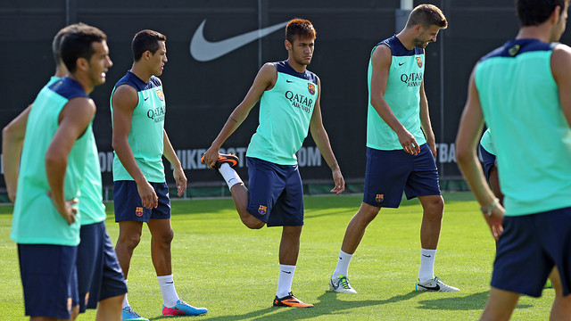 Neymar in training on Saturday before the Levante game / PHOTO: MIGUEL RUIZ - FCB