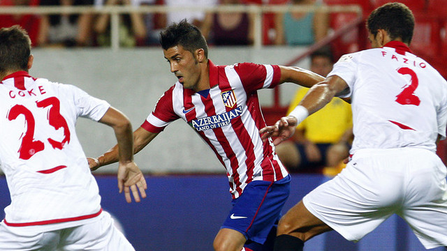 David Villa in his first official game for Atletico Madrid / PHOTO: www.clubatleticodemadrid.com