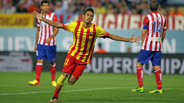 Neymar celebrates his first official goal for Barça / PHOTO: MIGUEL RUIZ-FCB