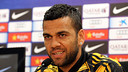 Dani Alves spoke about Messi and Neymar in the press room of the Ciutat Esportiva / PHOTO: MIGUEL RUIZ - FCB