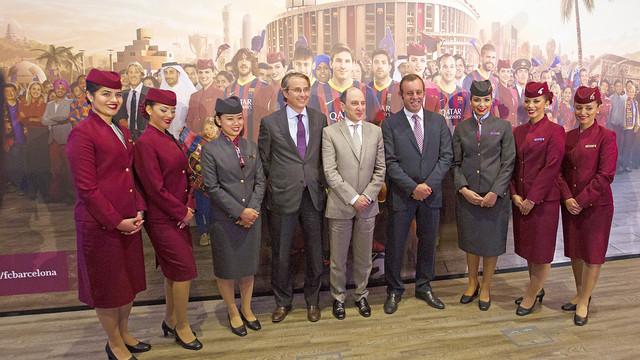 President Sandro Rosell, vice-president Javier Faus and Akbar Al-Baker, executive director of Qatar Airways / PHOTO: MIGUEL RUIZ - FCB