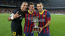 Mascherano with Pinto and Messi / PHOTO: MIGUEL RUIZ-FCB
