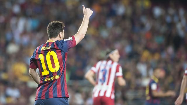 Messi in the match against Atlético Madrid. PHOTO: V. SALGADO - FCB