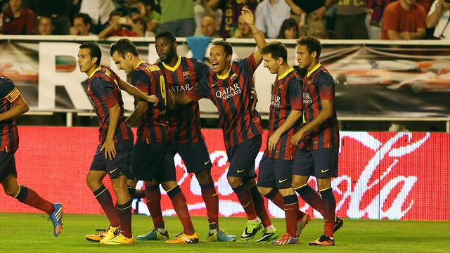 Alegria per un gol a Vallecas. FOTO: MIGUEL RUIZ-FCB.