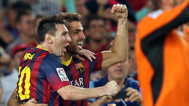 Messi and Cesc. The latter returns to the squad / PHOTO: MIGUEL RUIZ-FCB