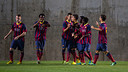 Youth A players celebrating a goal in their 3-1 win over Girona on Friday / PHOTO: ARCHIVO-FCB