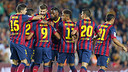 Players celebrate a goal against Valladolid. PHOTO: MIGUEL RUIZ-FCB.