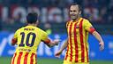 Messi and Iniesta celebrating tonight's goal / PHOTO: MIGUEL RUIZ - FCB