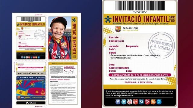 Imatge de la invitació infantil als socis menors de 8 anys del Barça