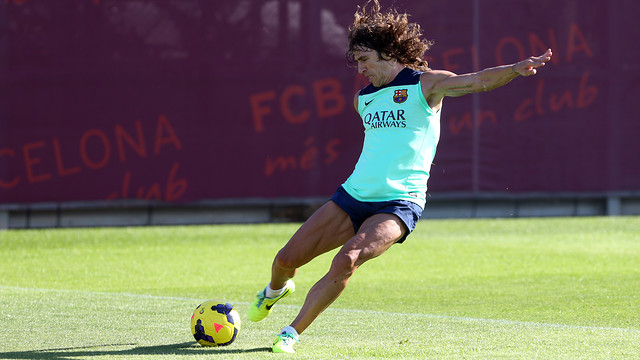 Puyol in training on Thursday/ PHOTO: MIGUEL RUIZ - FCB