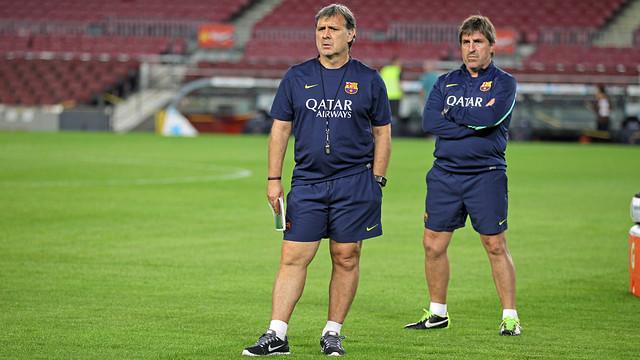 Martino i Roura, a l'entrenament del Camp Nou del divendres. FOTO: MIGUEL RUIZ-FCB.