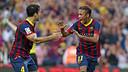 Neymar and Cesc after the opener. PHOTO: MIGUEL RUIZ-FCB.
