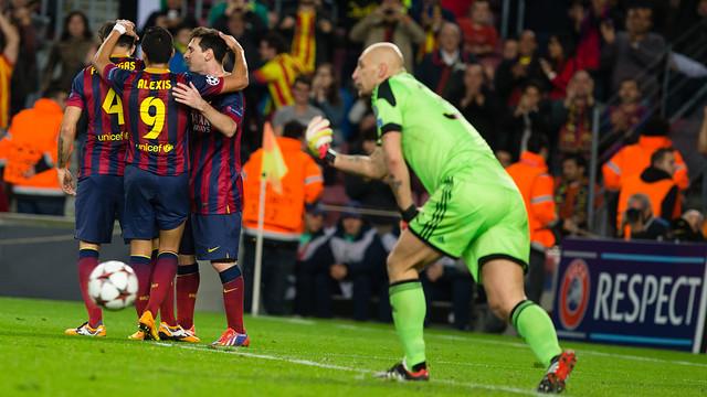 Messi makes it 3-1 against AC Milan. PHOTO: GERMÁN PARGA-FCB.