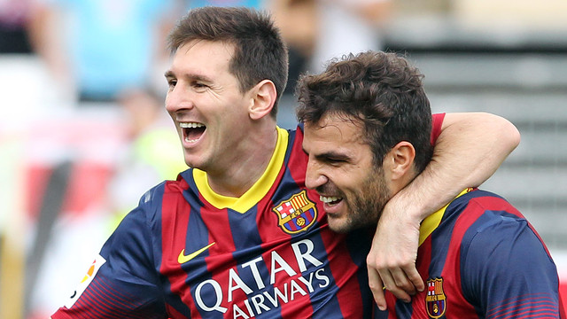 Messi and Cesc celebrate a goal / PHOTO: MIGUEL RUIZ-FCB