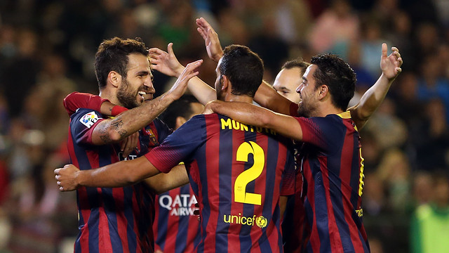 The players celebrating a goal/ PHOTO: MIGUEL RUIZ - FCB