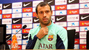 Mascherano in the press conference. PHOTO: MIGUEL RUIZ-FCB.
