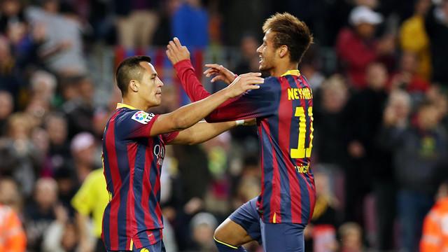 Alexis Sánchez and Neymar celebrating Barça's third goal against Granada / PHOTO: MIGUEL RUIZ-FCB