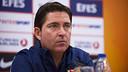 Xavi Pascual in the press conference / PHOTO: ARCHIVE FCB