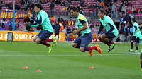Bartra, Montoya and Adriano warming up before a match