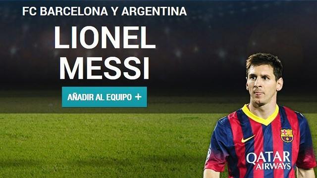 Fotomuntatge de Messi a la web de la UEFA per votar-lo