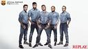 Cesc, Piqué, Neymar, Alves i Iniesta a la campanya de Replay