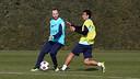 Iniesta i Pedro, a l'entrenament d'aquest dilluns / FOTO: MIGUEL RUIZ-FCB