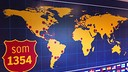 world map with several markers representing supporters clubs and a motto stating we are 1354 in catalan