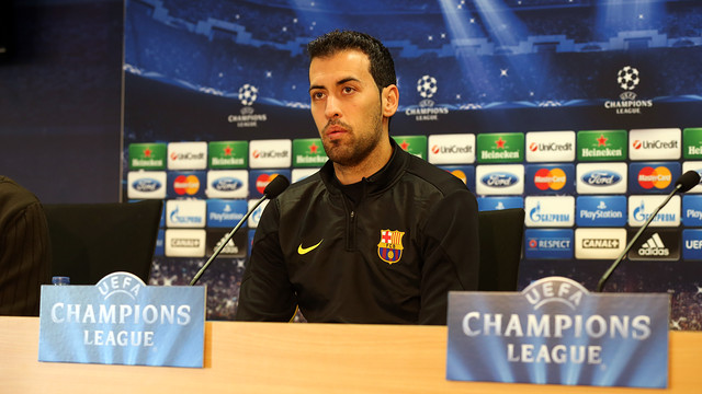 Sergio Busquets in the press room at the Ciutat Esportiva