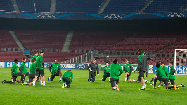 L'entrenament del Celtic al Camp Nou.