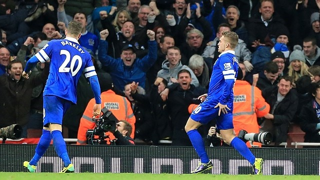 Gerard Deulofeu celebrates his goal against Arsenal / PHOTO: www.evertonfc.com