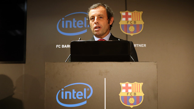 Rosell, during the presentation of the new agreement. PHOTO: MIGUEL RUIZ - FCB