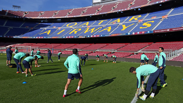 The squad of 18 worked out at the Camp Nou ahead of the game with Villarreal / PHOTO: MIGUEL RUIZ - FCB