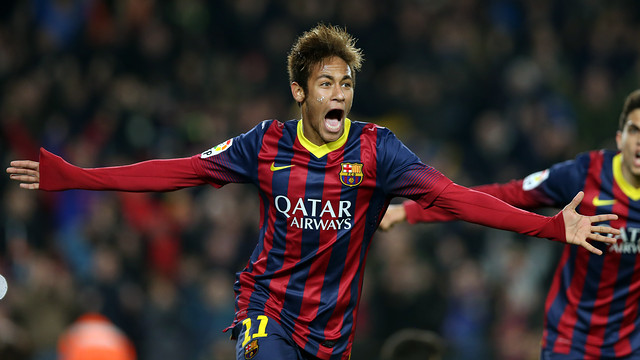 Neymar Jr celebrating a goal / PHOTO: MIGUEL RUIZ-FCB