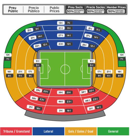 Preus Precios Prices FCB Getafe Copa Cup